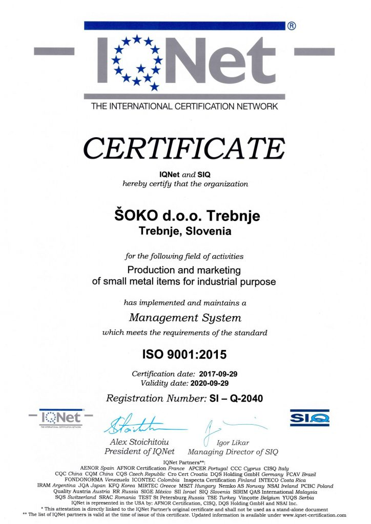 iso 9001 2015 iqnet certifikat