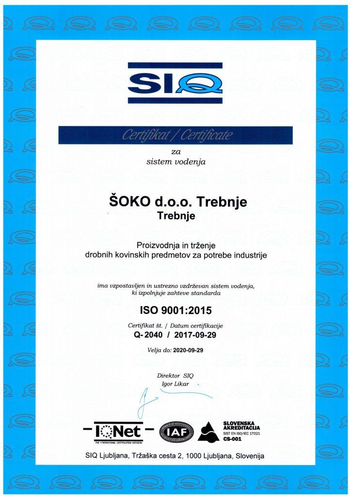 iso 9001 2015 siq certifikat